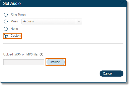 Selecting Custom and click Browse.