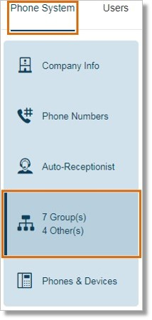 Go to Phone System and then click Groups.