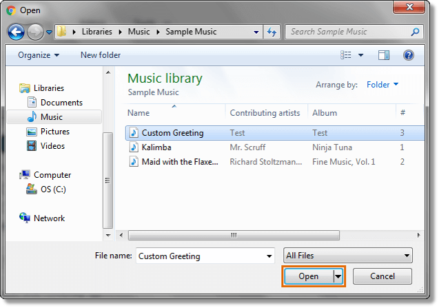 It is recommended to use either .wav or .mp3 audio file formats, otherwise it will not work correctly.