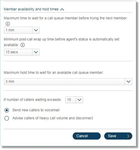 This menu lets you designate how callers on hold will be handled.