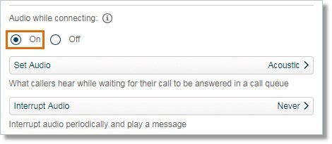 Callers will hear the selected music whenever the connection to the call queue takes more than a moment to complete. Select On to enable this feature.