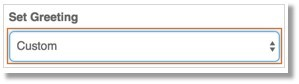 Click the drop-down box belowSet Greeting, then selectCustom.