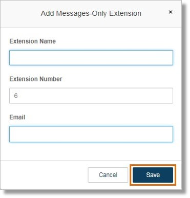 Enter the Extension Name and Email. Click Save.