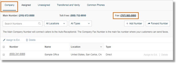 Under the Company tab, click your Fax Number.