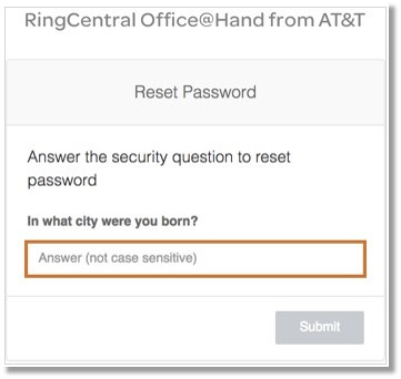 Enter your answer to your Security Question.