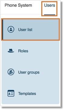 Go toUsers > User list.
