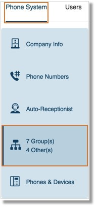 Under Phone System, click Groups.