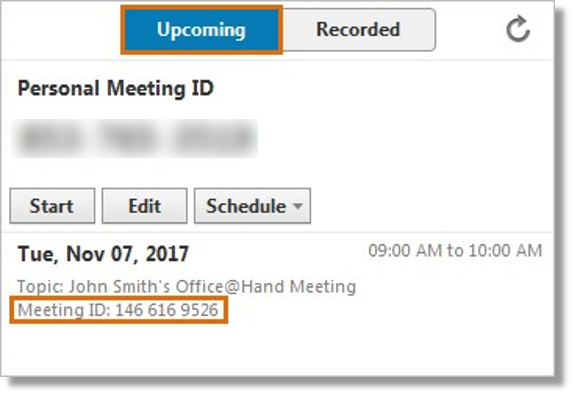 Under Upcoming, you will see the list of upcoming Meetings. You can see the Meeting ID beneath the topic.