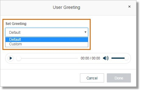 Select between Default or Custom. Selecting Default will use Office@Hand's default greeting.