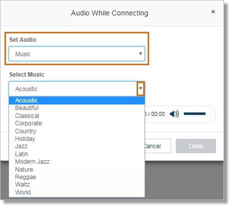Selecting Music allows you to select the Music type.
