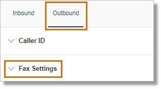 Click the Outbound tab, then click Fax Settings.