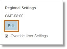 On the User Details section, click Edit under Regional Settings.