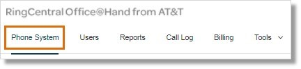 Go to Admin Portal, click thePhone System tab.