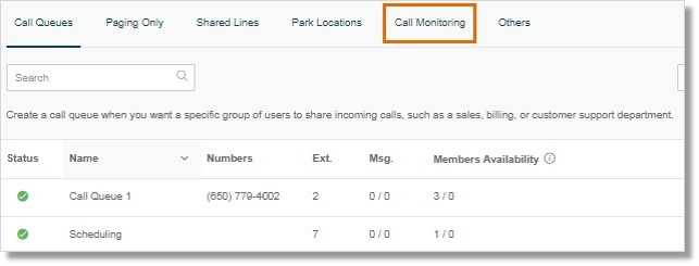 Click the Call Monitoring tab.