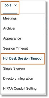 On the Tools menu, click Hot Desk Session Timeout.