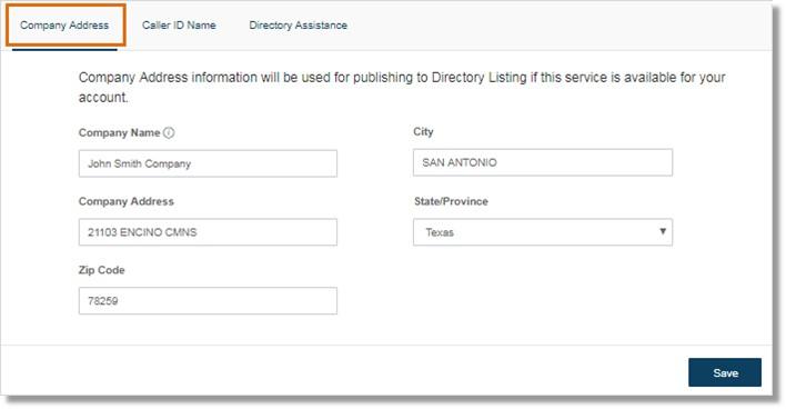 Image of the company information menu.