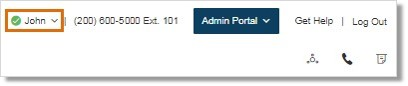 Click drop-down box next to your name, located at the upper right-hand corner of your Office@Hand Online account.