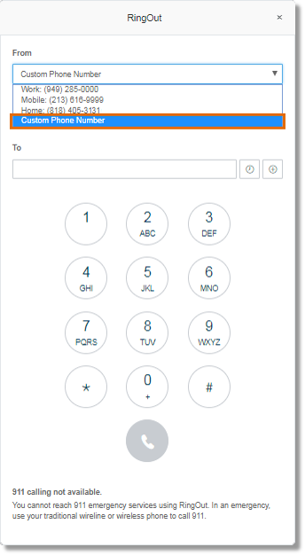 You can also enter a phone number that is not included in the list by selecting the Custom phone number option.