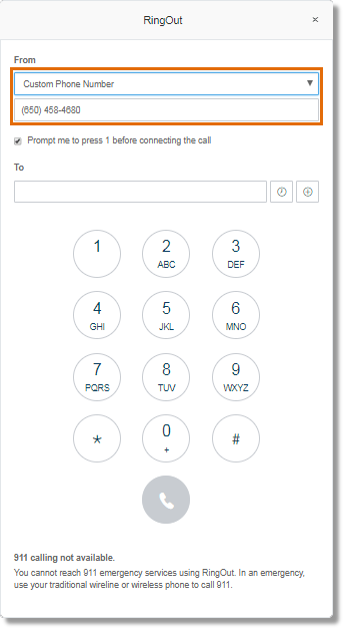 When you select Custom Phone Number, you will be provided with a box where you can enter the phone number you want to use to make the call.