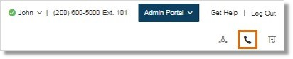 Administrators can click the RingOut button on the Admin Portal page.