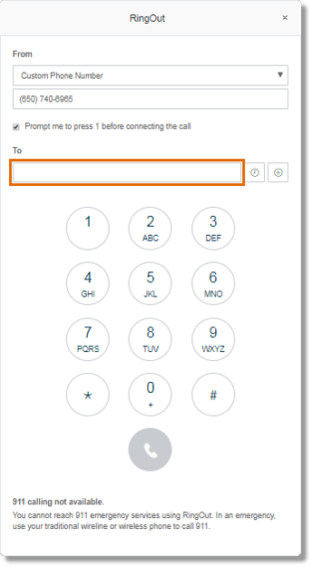 If RingOut was initiated via the RingOut on the main Online account page, enter the number that you want to call in the box provided.