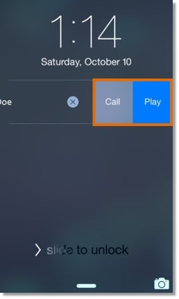 Tap Play to listen to the voicemail or tap Call to return the call.