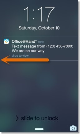 Swipe the notification to the Left for options to retrieve the Text Message.