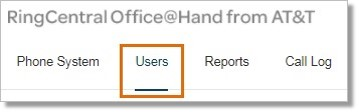 The Administrator should log in to Office@Hand account and go to the Users section on the Admin Portal page.