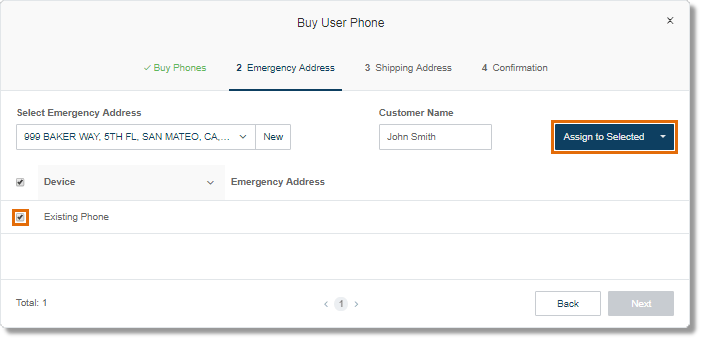 Select the device where the Emergency Address will be applied, and then click on Assign to Selected.