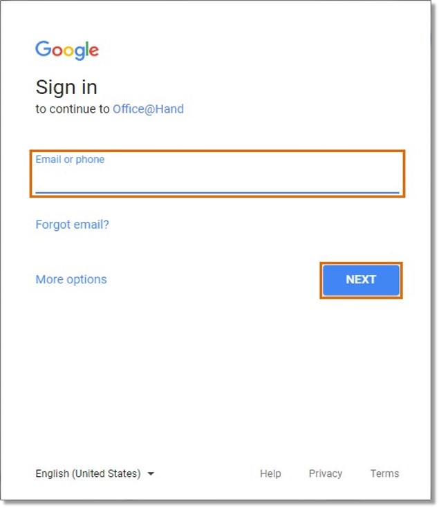Enter your Google email and click Next.