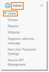 From the list on the left side of the screen, click Admin. Then, click Users.