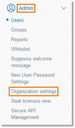 Click Admin and then Organization Settings