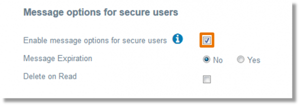 "From the Organization Settings screen, select the checkbox to the right of ""Enable message options for secure users""."