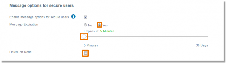 "Click the radio button directly to the left of ""Yes"" to set enable message expiration and then set a desired time for the message to expire."