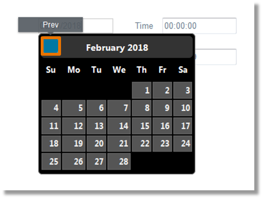 Move the mouse over the top right and top left of the calendar box to populate the blue box to go to previous and next month.