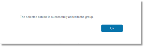 A message appears confirming that the selected contact was added to the group.