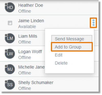 Select Options, and then Add to Group.