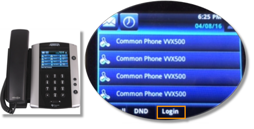 Press the Login soft keyor dial *90 on a common phone