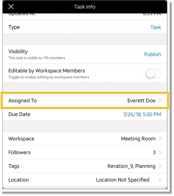 Tap current assignee (tablet and mobile)