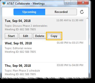 Copy a meeting (web and desktop)
