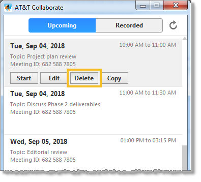 Delete a meeting (web and desktop)