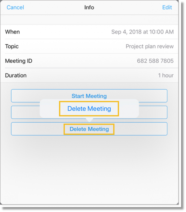 Delete a meeting (tablet)