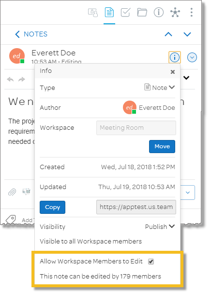 Check Allow Workspace Members to Edit