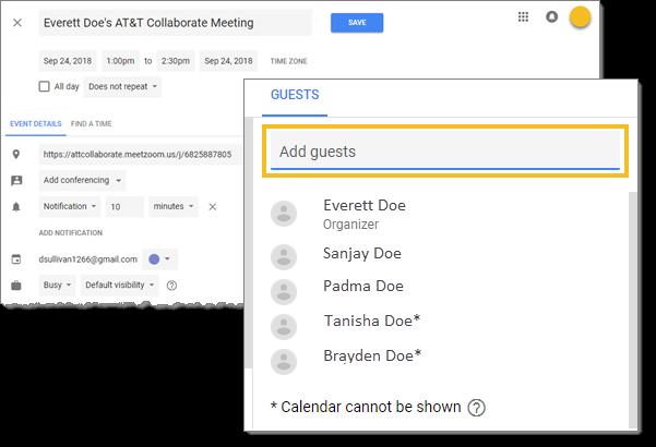 Send invitation in Google Calendar