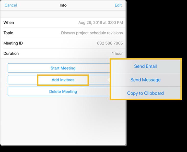 Add invitees (tablet)
