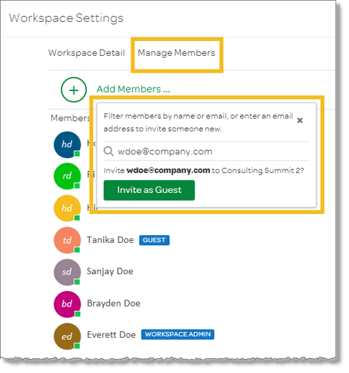 Invite a guest using the Workspace Settings menu (web and desktop)