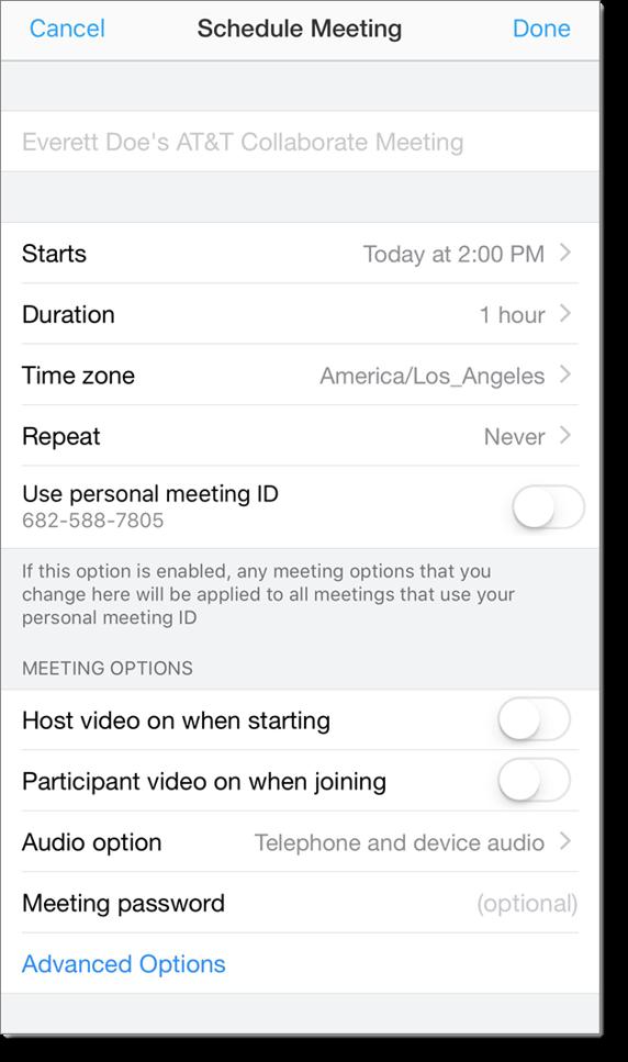 Schedule Meeting window (mobile)