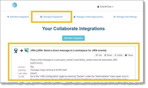 Manage Integrations