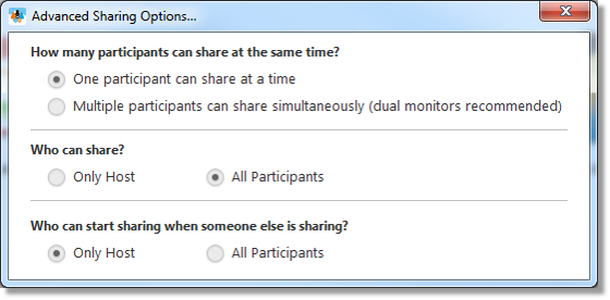 Advanced sharing options (web and desktop)