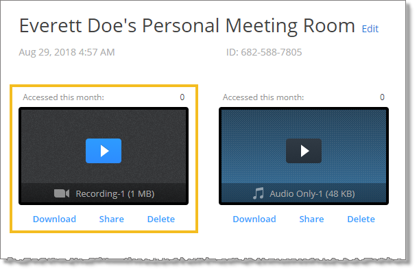 Meetings recorded to the cloud